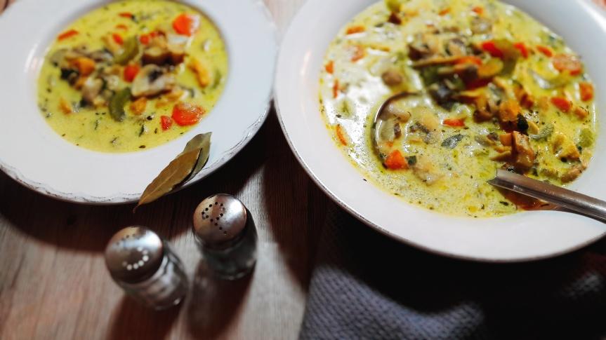 Kremasta juha od gljiva s piletinom