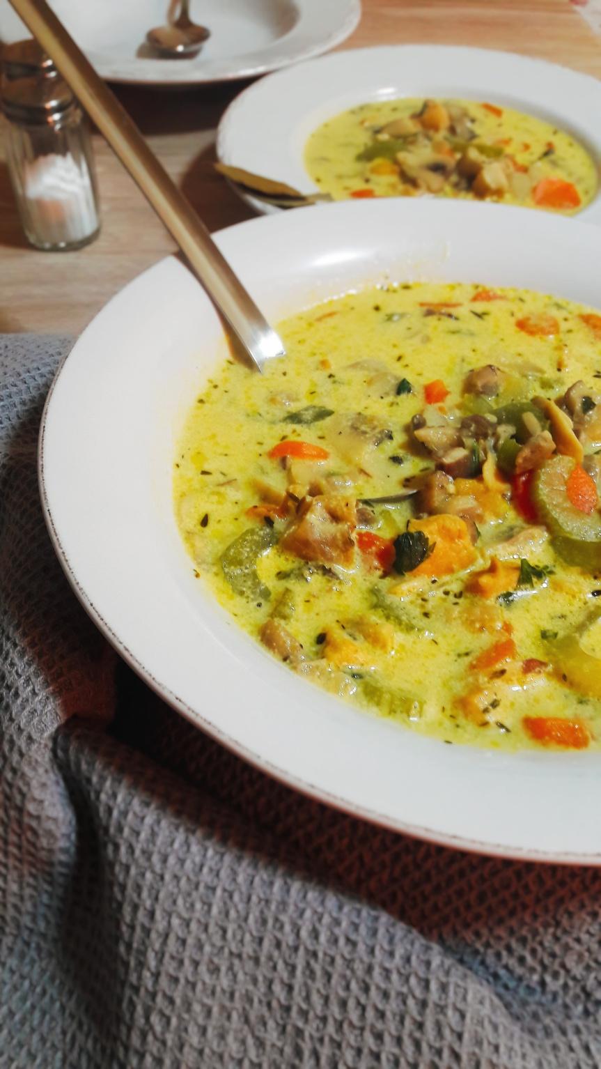 Kremasta juha od gljiva spiletinom
